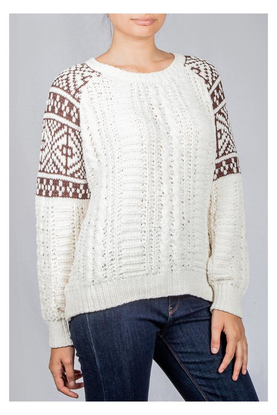En Creme Cozy Cable-Knit Sweater - Front Full Image
