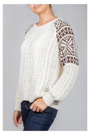 En Creme Cozy Cable-Knit Sweater - Side cropped