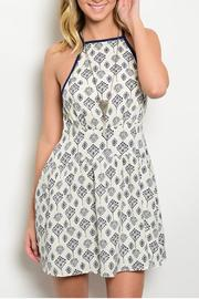 En Creme Cream Navy Dress - Product Mini Image