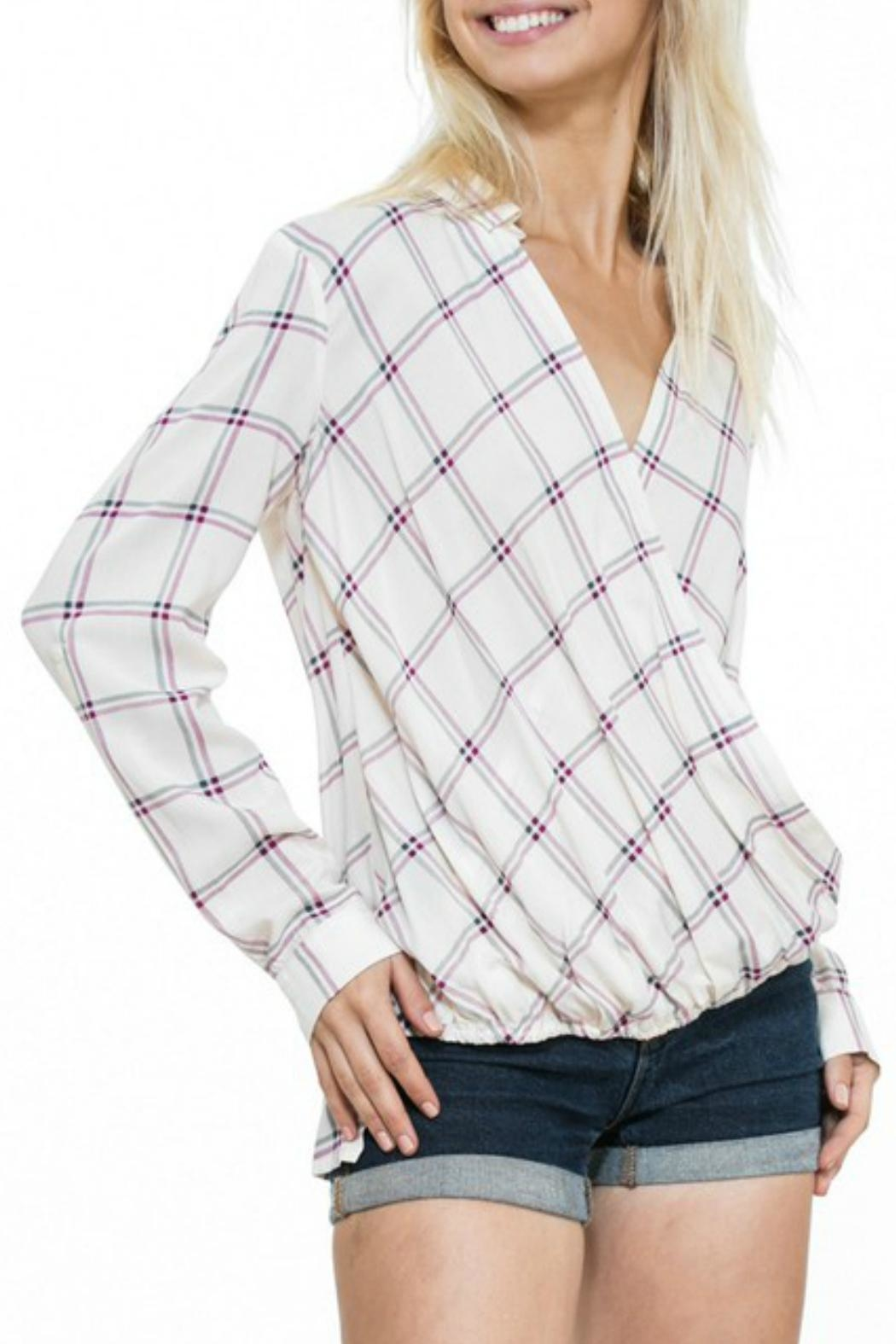 En Creme Cream Plaid Top - Main Image