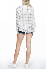 En Creme Cream Plaid Top - Back cropped