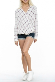 En Creme Cream Plaid Top - Front full body