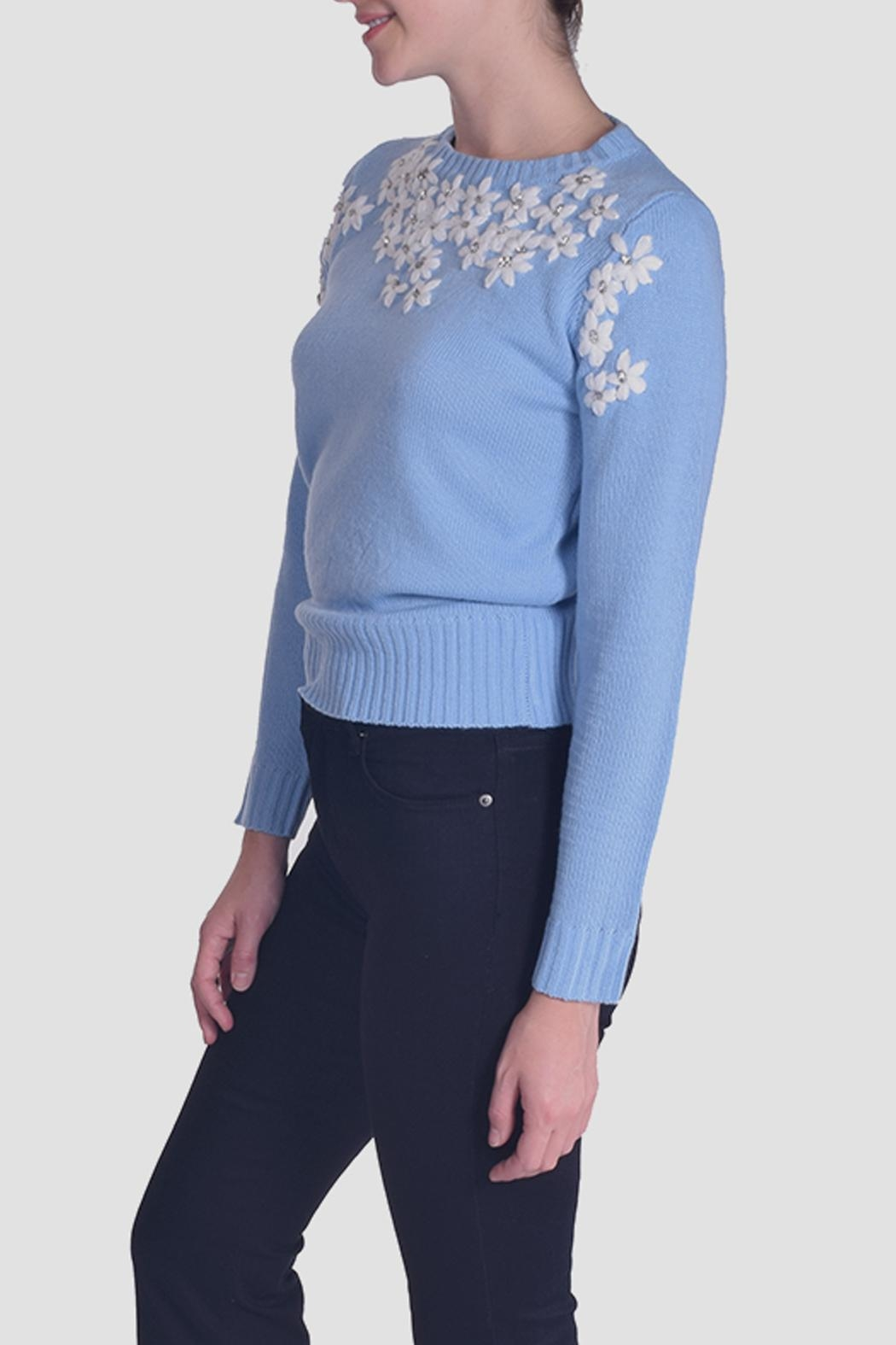 En Creme Daisy Embroidered Sweater - Front Full Image