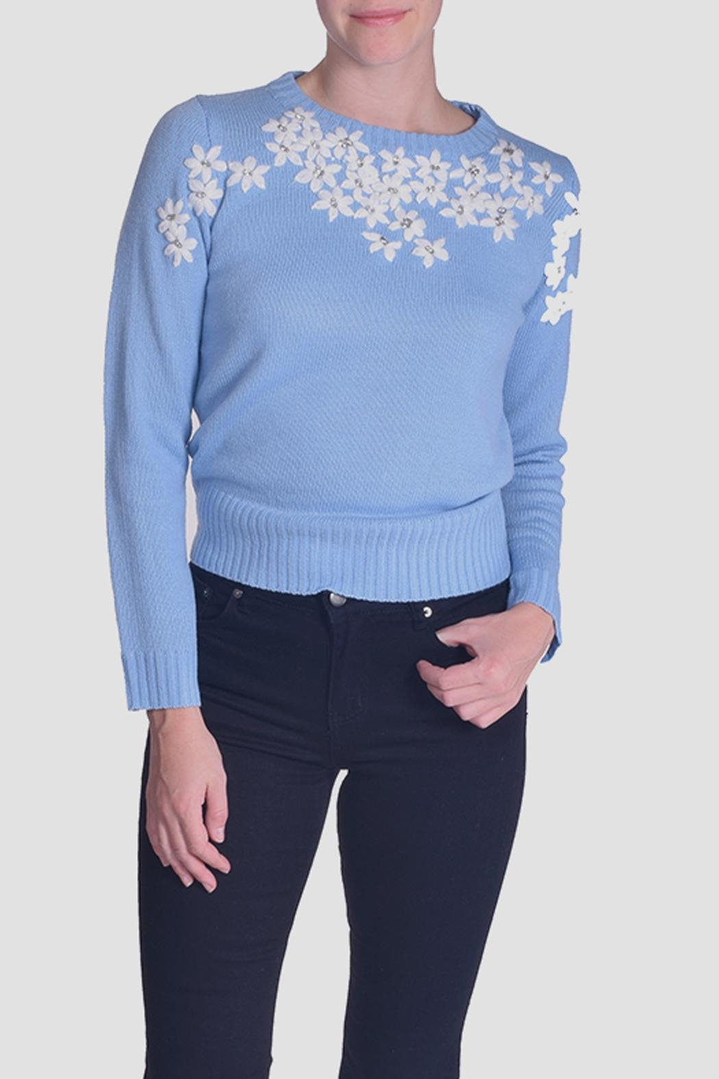 En Creme Daisy Embroidered Sweater - Main Image