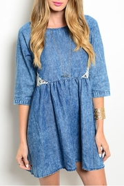 En Creme Denim Crochet Dress - Product Mini Image