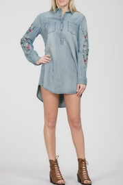 En Creme Denim Embroidered Tunic - Front cropped