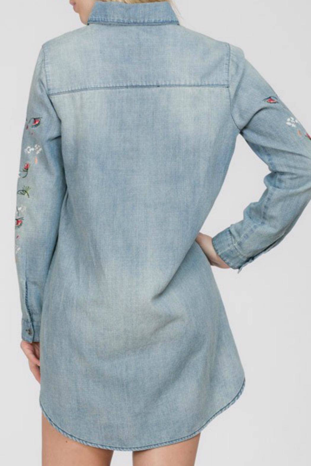 En Creme Denim Embroidered Tunic - Front Full Image