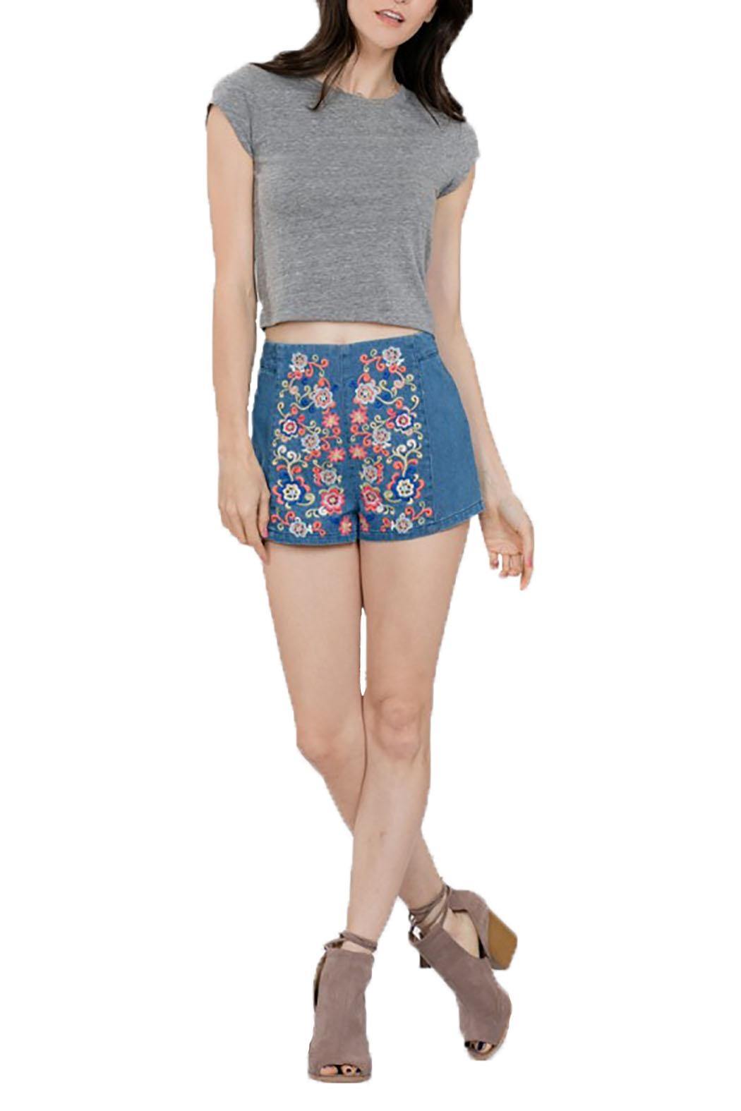 En Creme Embroiderd Denim Shorts - Main Image