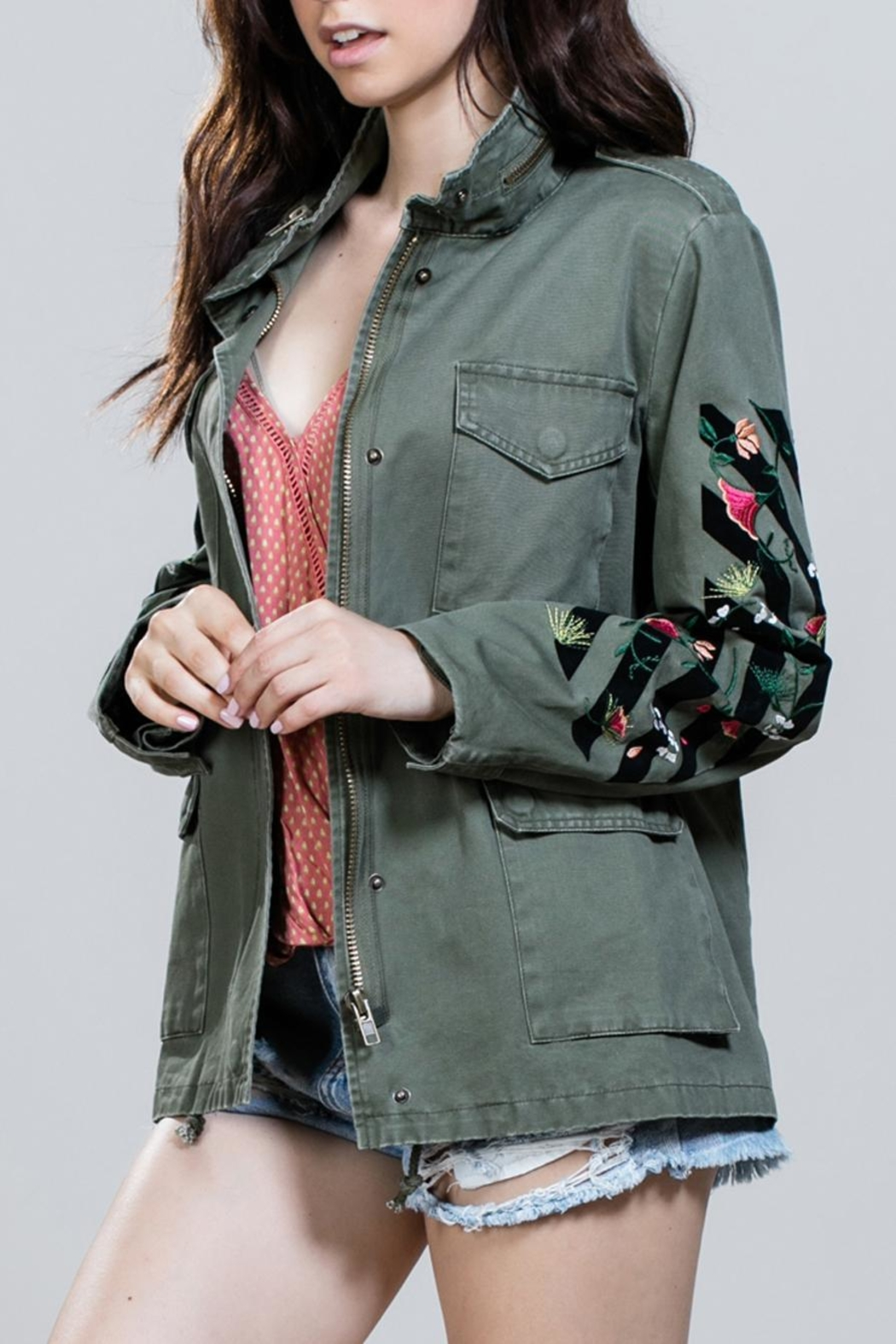 En Creme Embroidered Army Jacket - Main Image