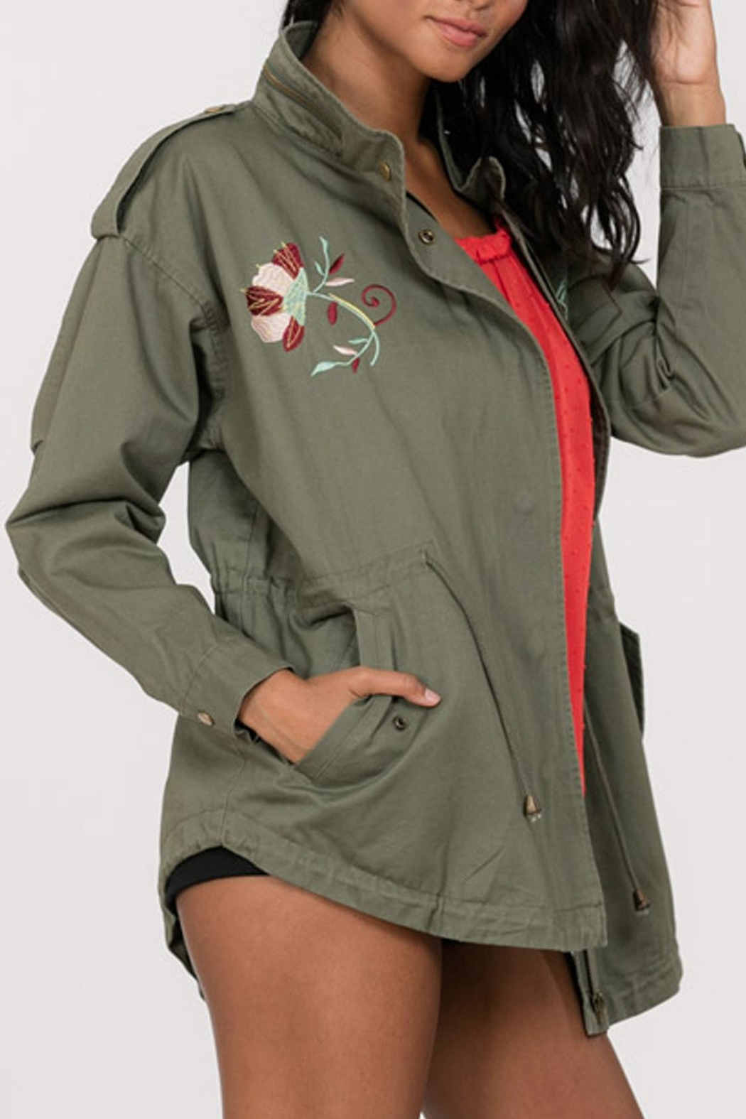 En Creme Embroidered Cargo Jacket - Front Cropped Image