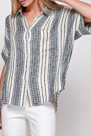En Creme Everyday Cool Striped Button Down In Blue Stripe - Product Mini Image