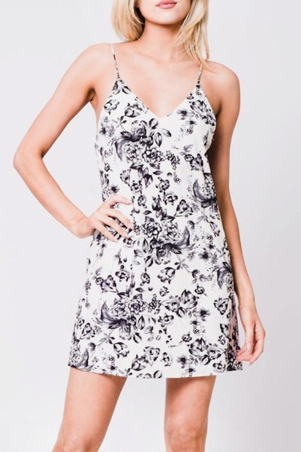En Creme Floral Slip Dress - Main Image