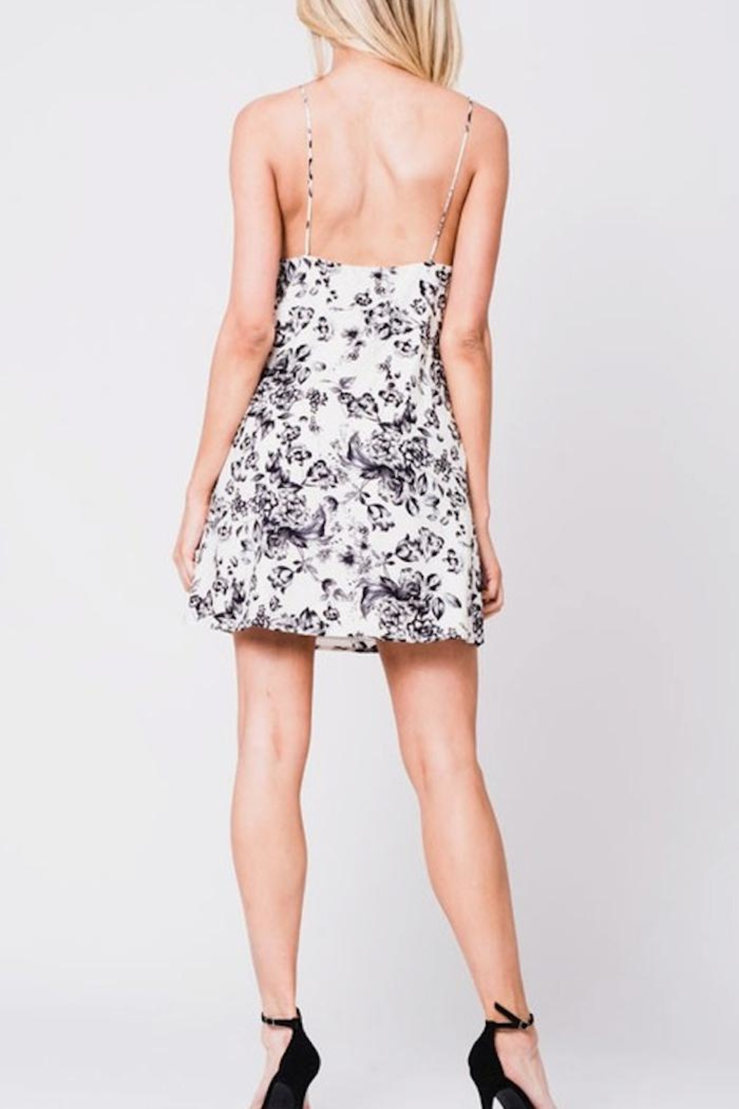 En Creme Floral Slip Dress - Front Full Image