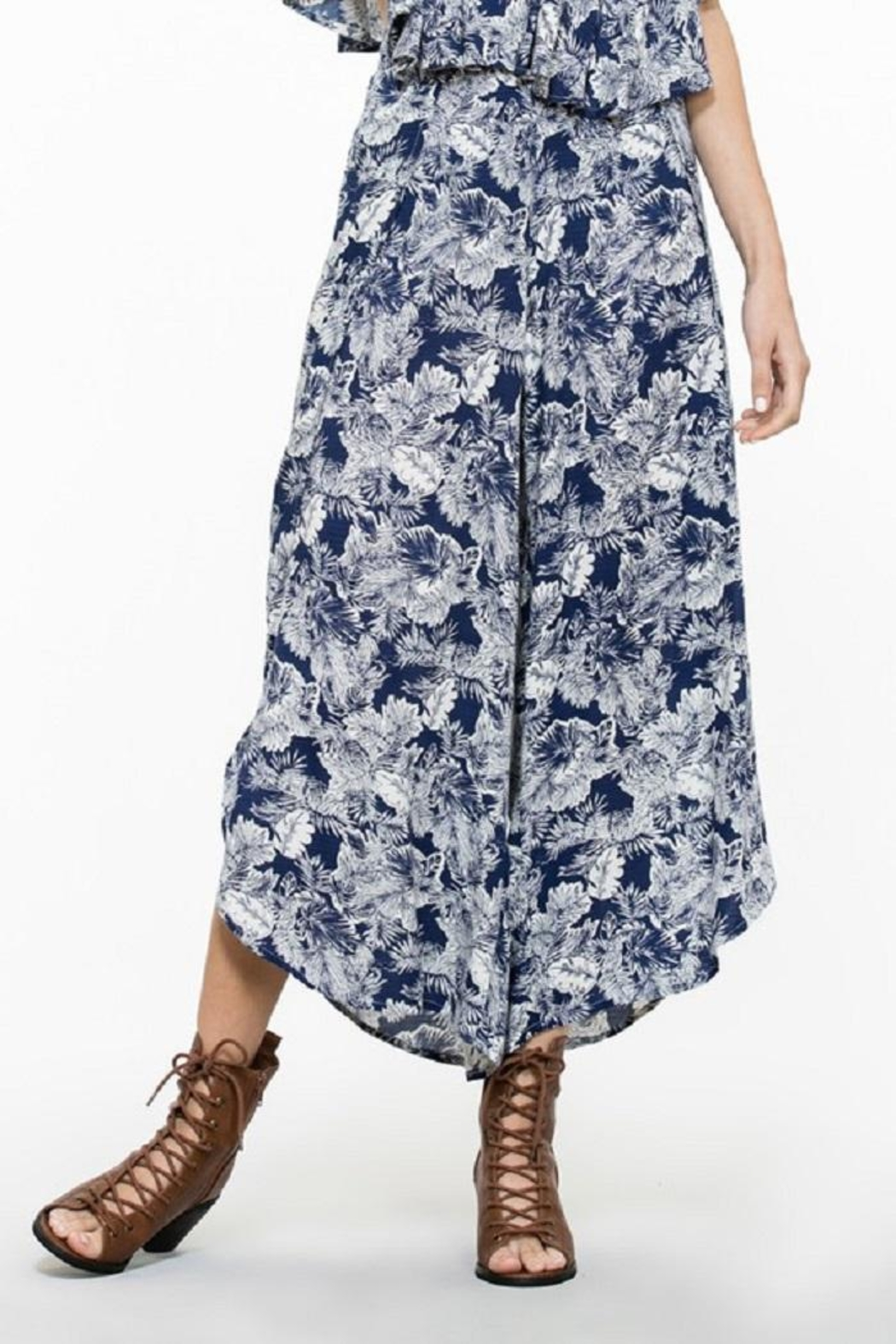 En Creme Floral Wide Pants - Main Image