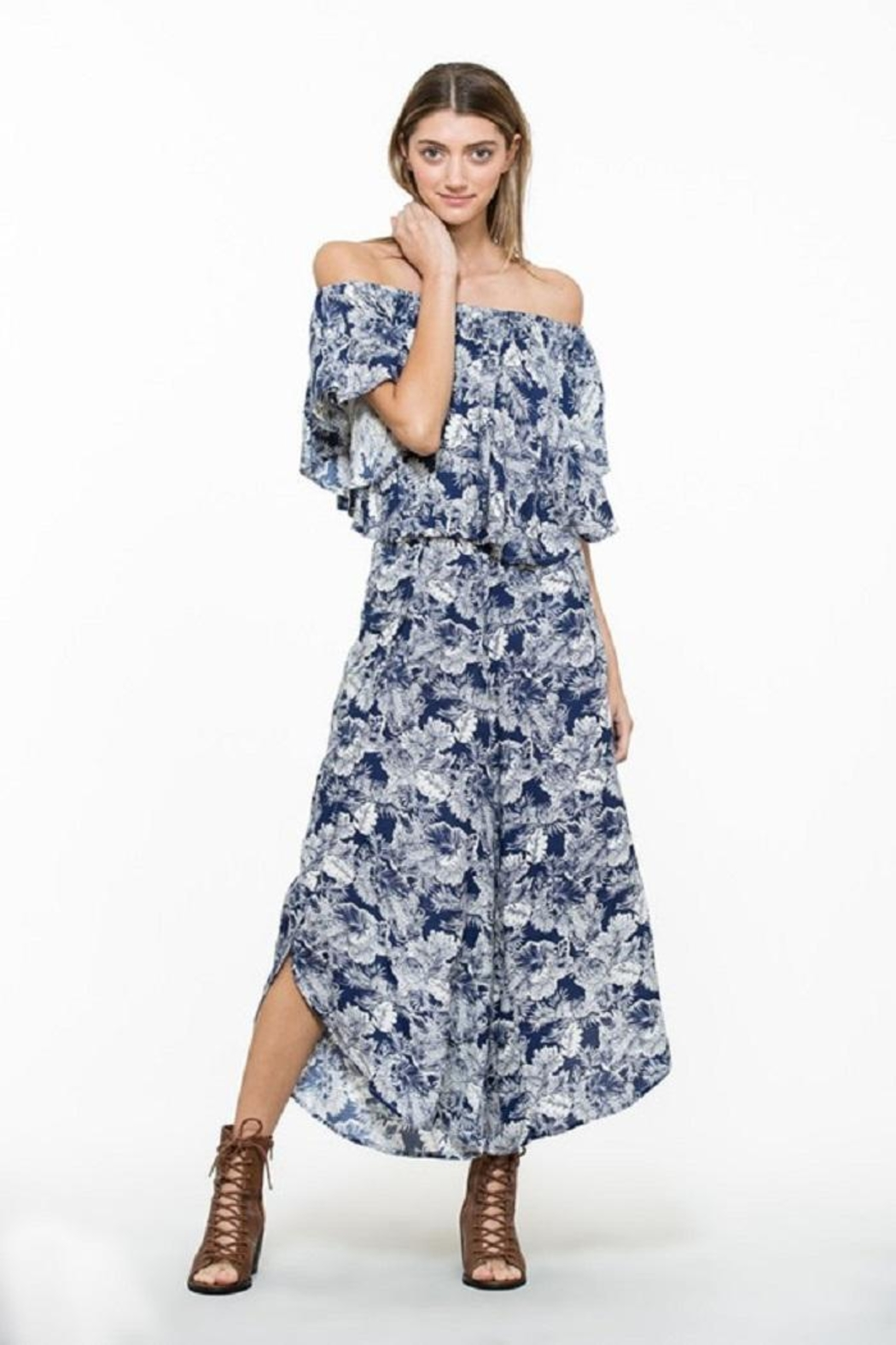 En Creme Floral Wide Pants - Side Cropped Image