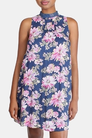 En Creme Floral High Neck Dress - Front full body