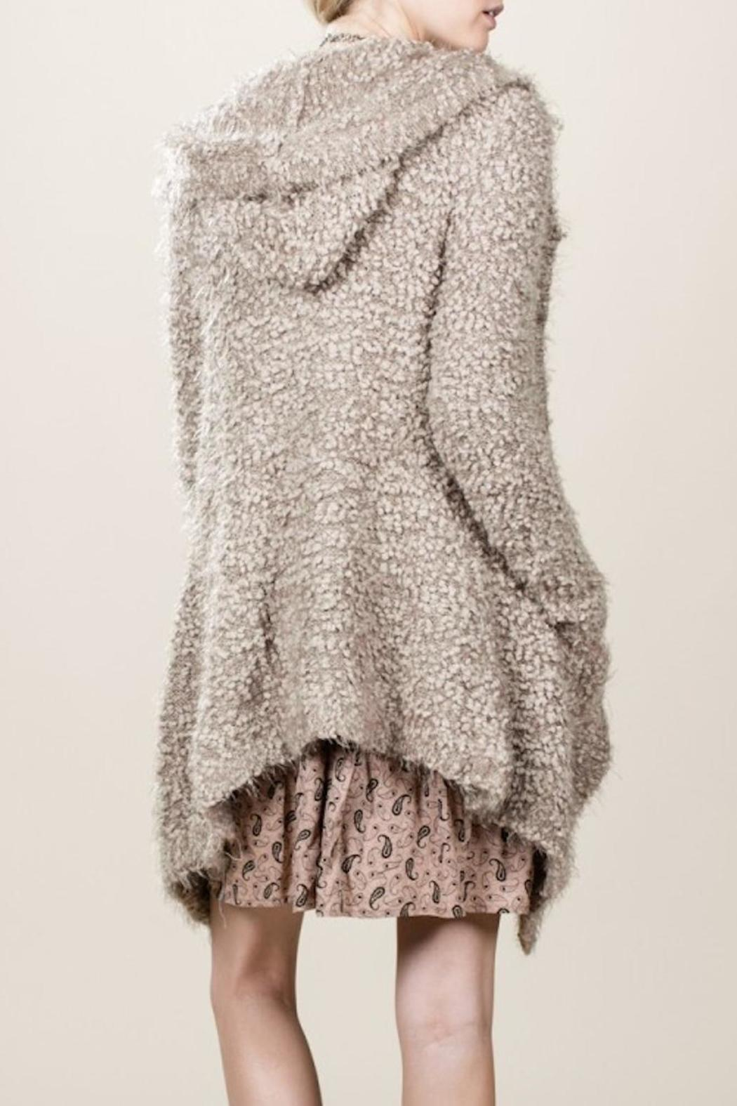 En Creme Fuzzy Hooded Cardigan from New York by Lucia Boutique ...