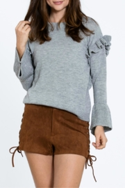 En Creme Gray Ruffle Sweater - Product Mini Image