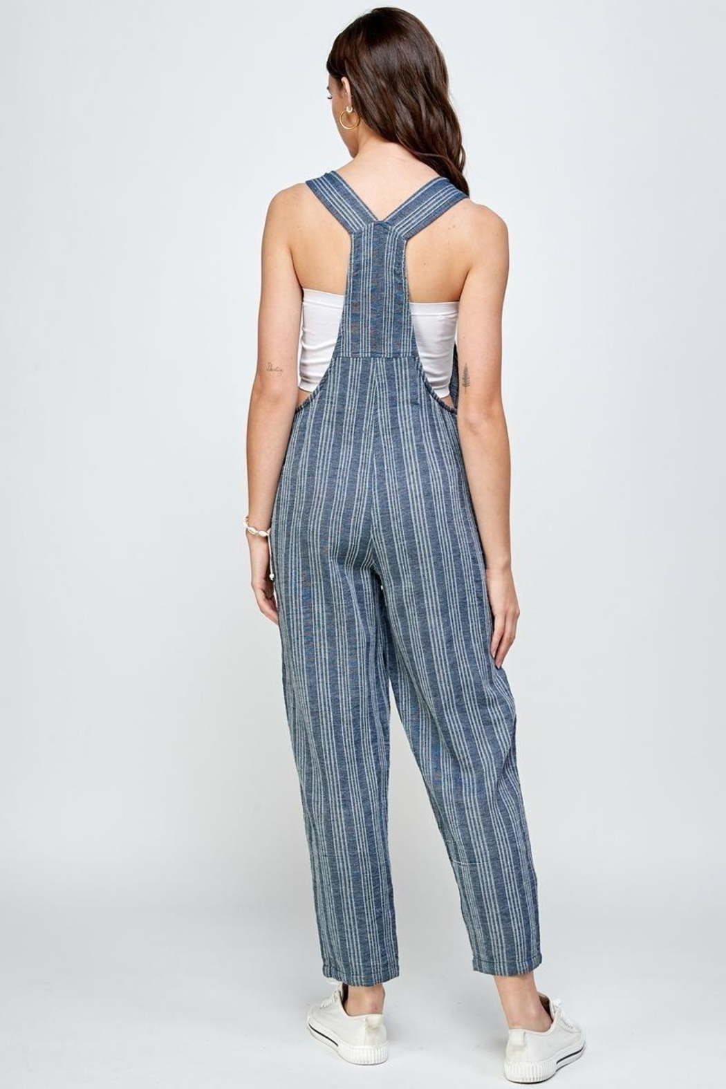 En Creme Hang Time Button Strap Overalls - Front Full Image