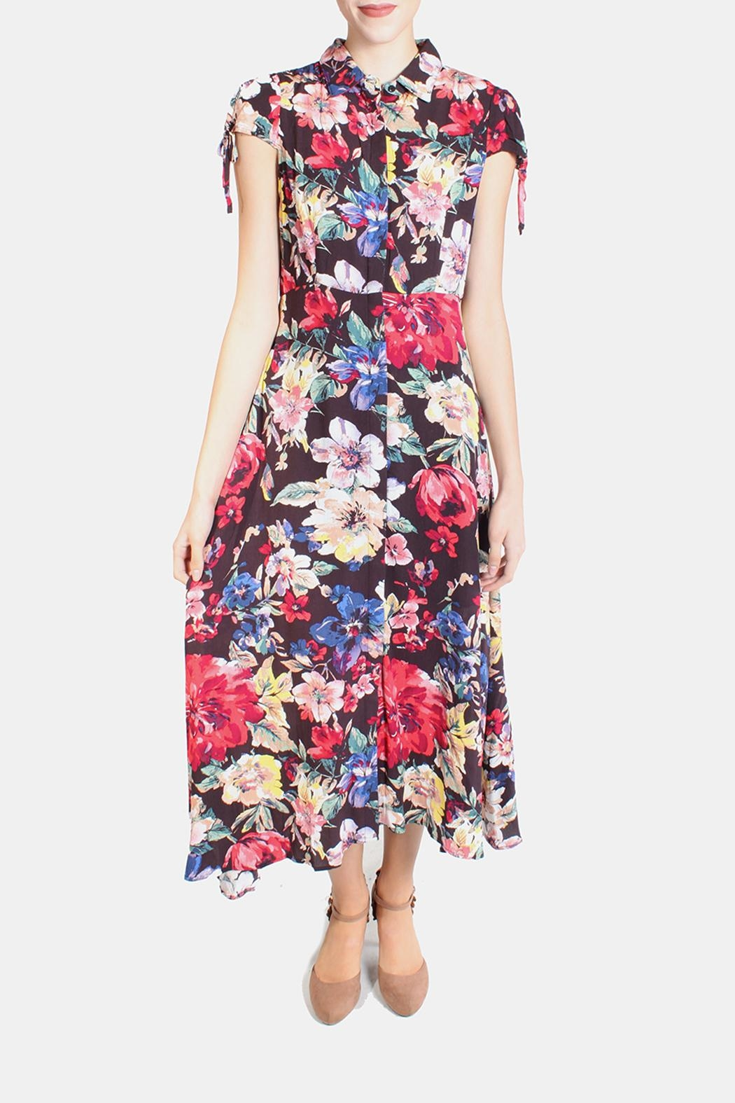 En Creme Floral Tie Sleeve Dress - Front Cropped Image