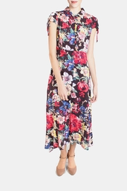 En Creme Floral Tie Sleeve Dress - Front full body
