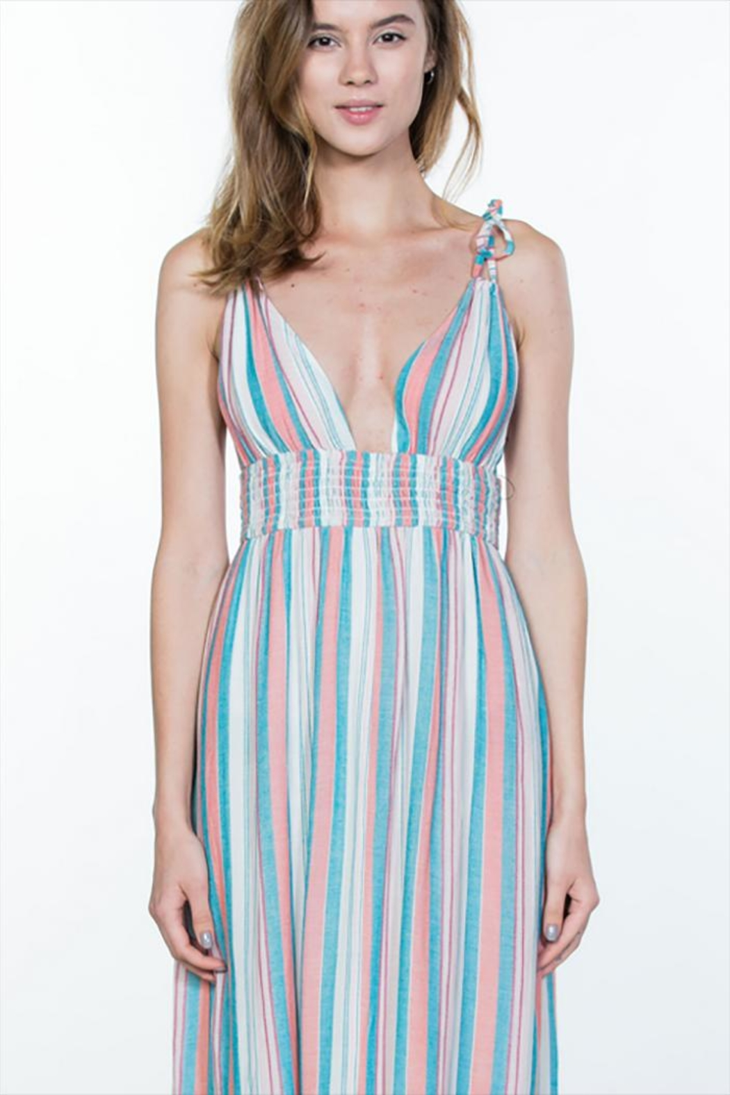 En Creme Multi Stripe Maxi - Side Cropped Image