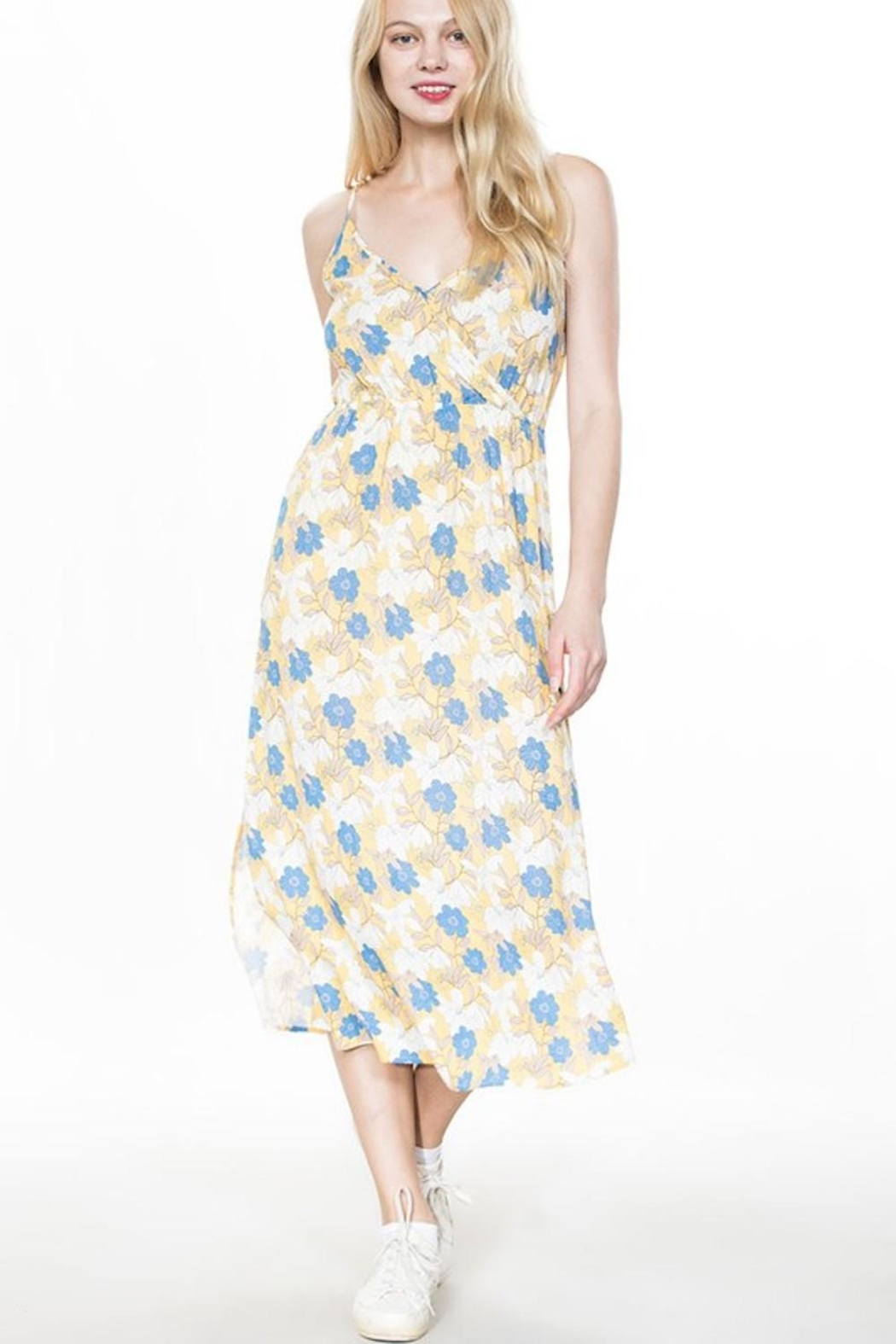 En Creme Mustard Floral Maxi - Front Cropped Image