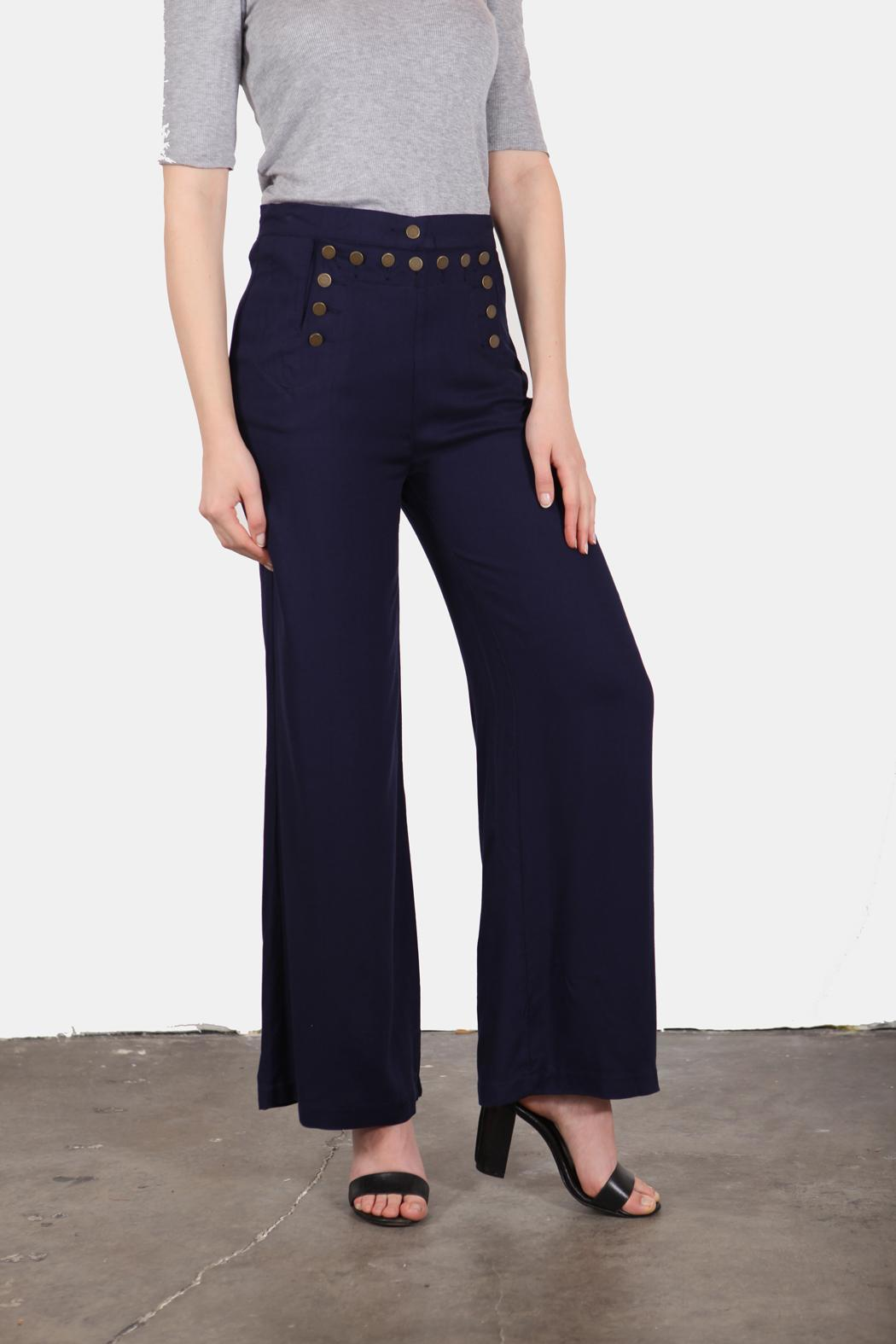 En Creme Navy Girl Sailor Pants - Front Cropped Image