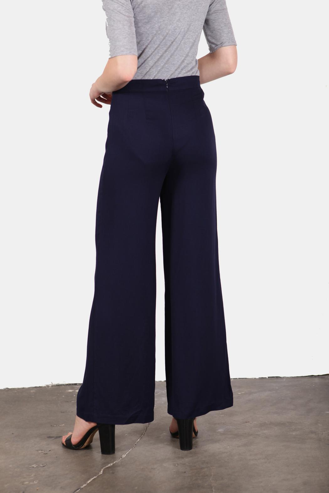 En Creme Navy Girl Sailor Pants - Side Cropped Image