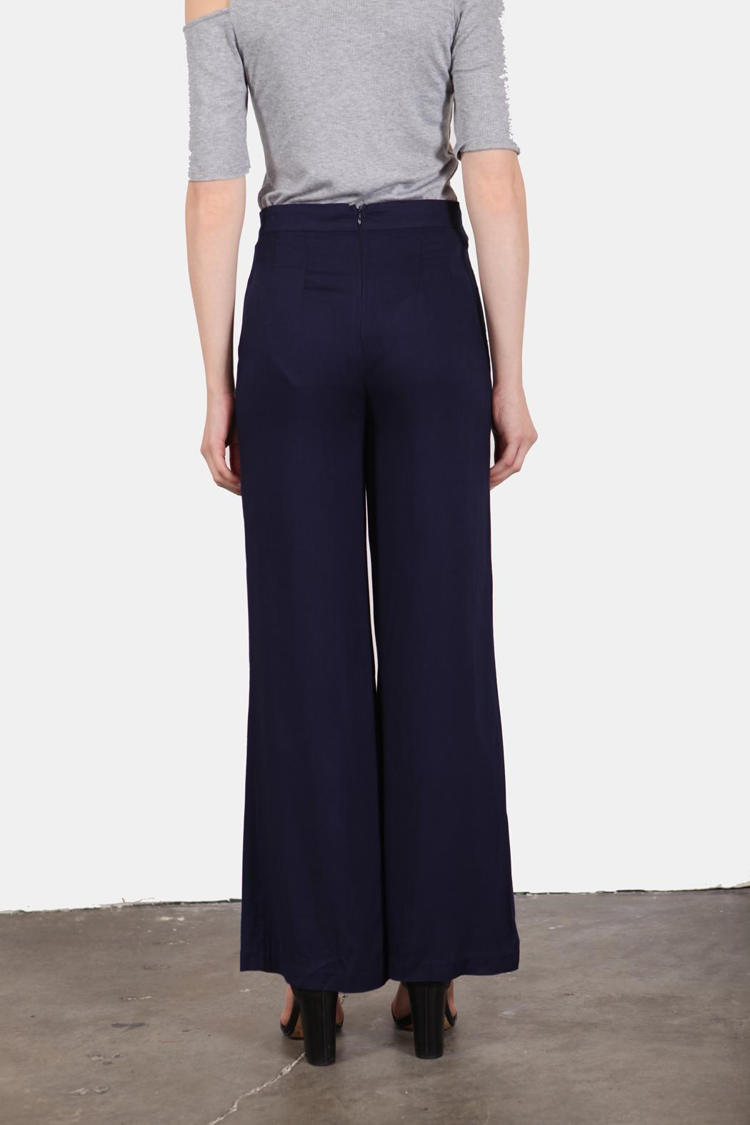 En Creme Navy Girl Sailor Pants - Back Cropped Image