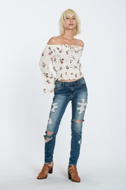 En Creme Off Shoulder Top - Front full body