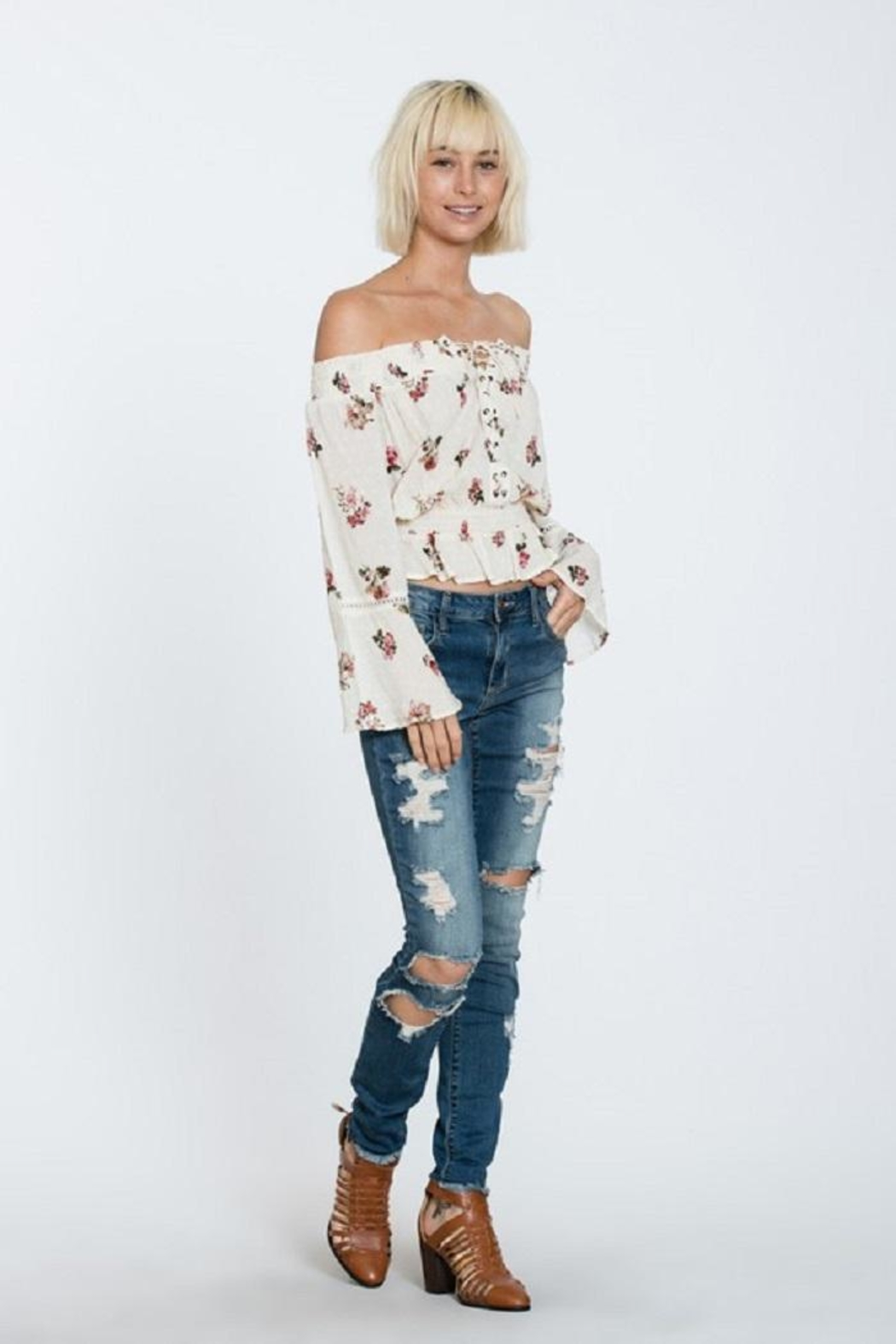 En Creme Off Shoulder Top - Main Image
