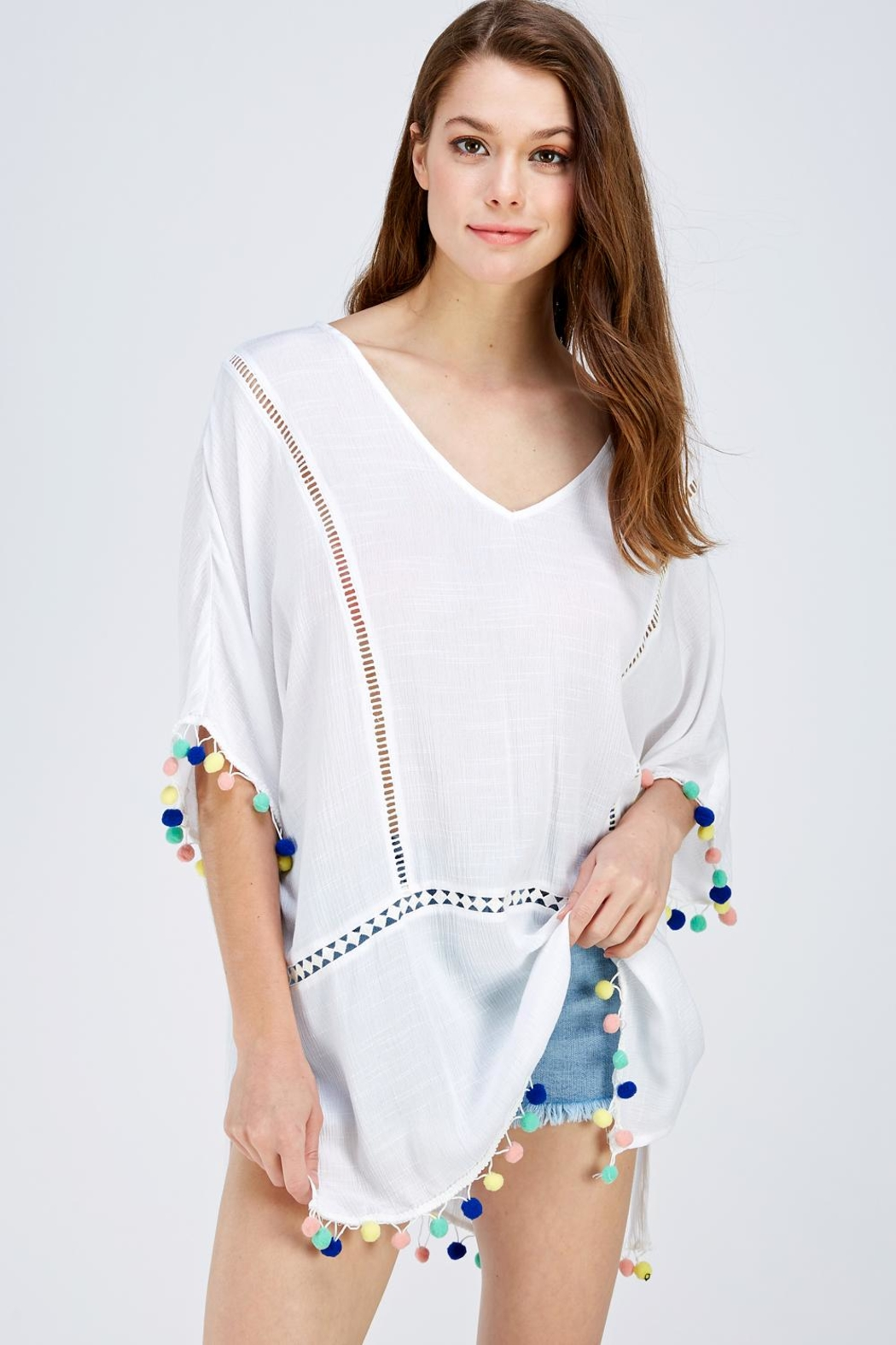 En Creme Pompom Coverup Blouse - Front Cropped Image