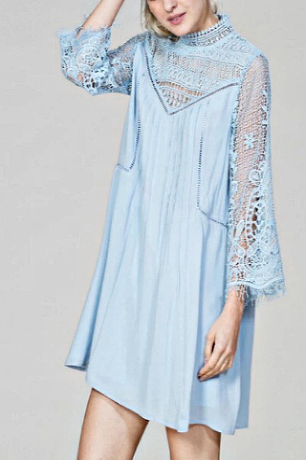 En Creme Powder Blue Lace - Front Cropped Image