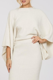 En Creme Ribbed Cape Sweater - Product Mini Image