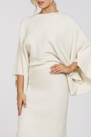 En Creme Ribbed Cape Sweater - Front full body