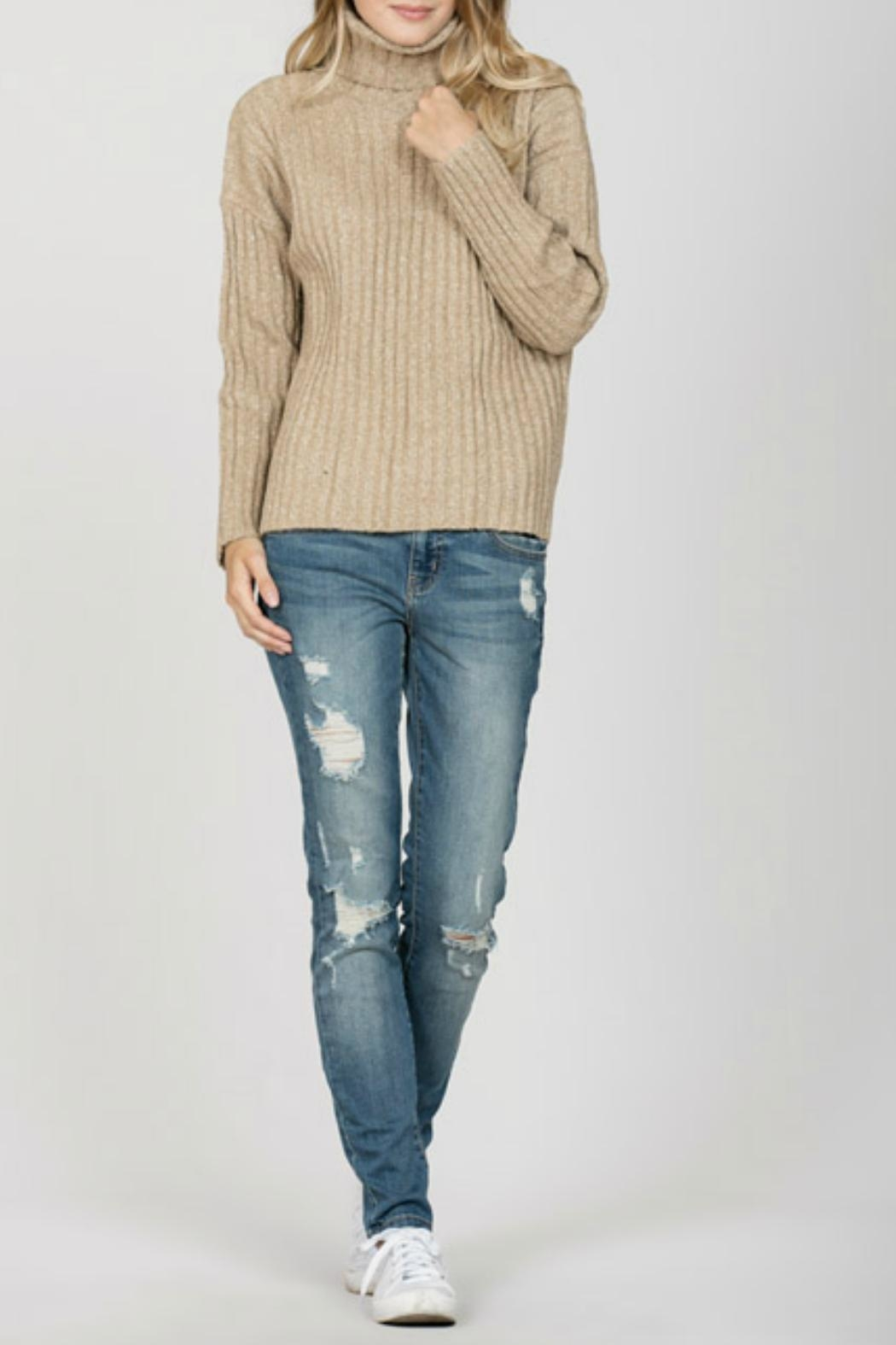 En Creme Ribbed Turtleneck Sweater - Main Image
