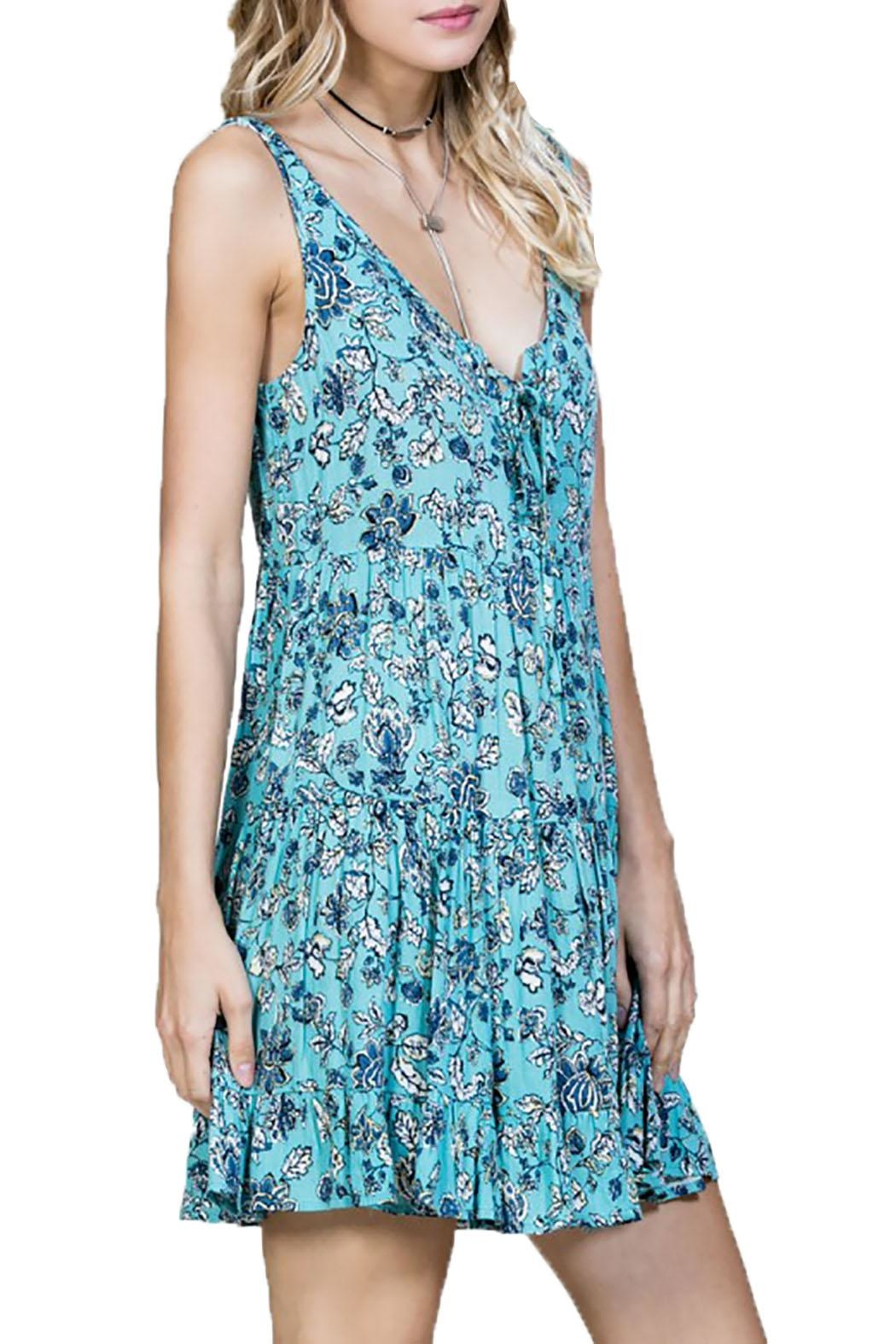 En Creme Sleeveless Floral Dress - Main Image