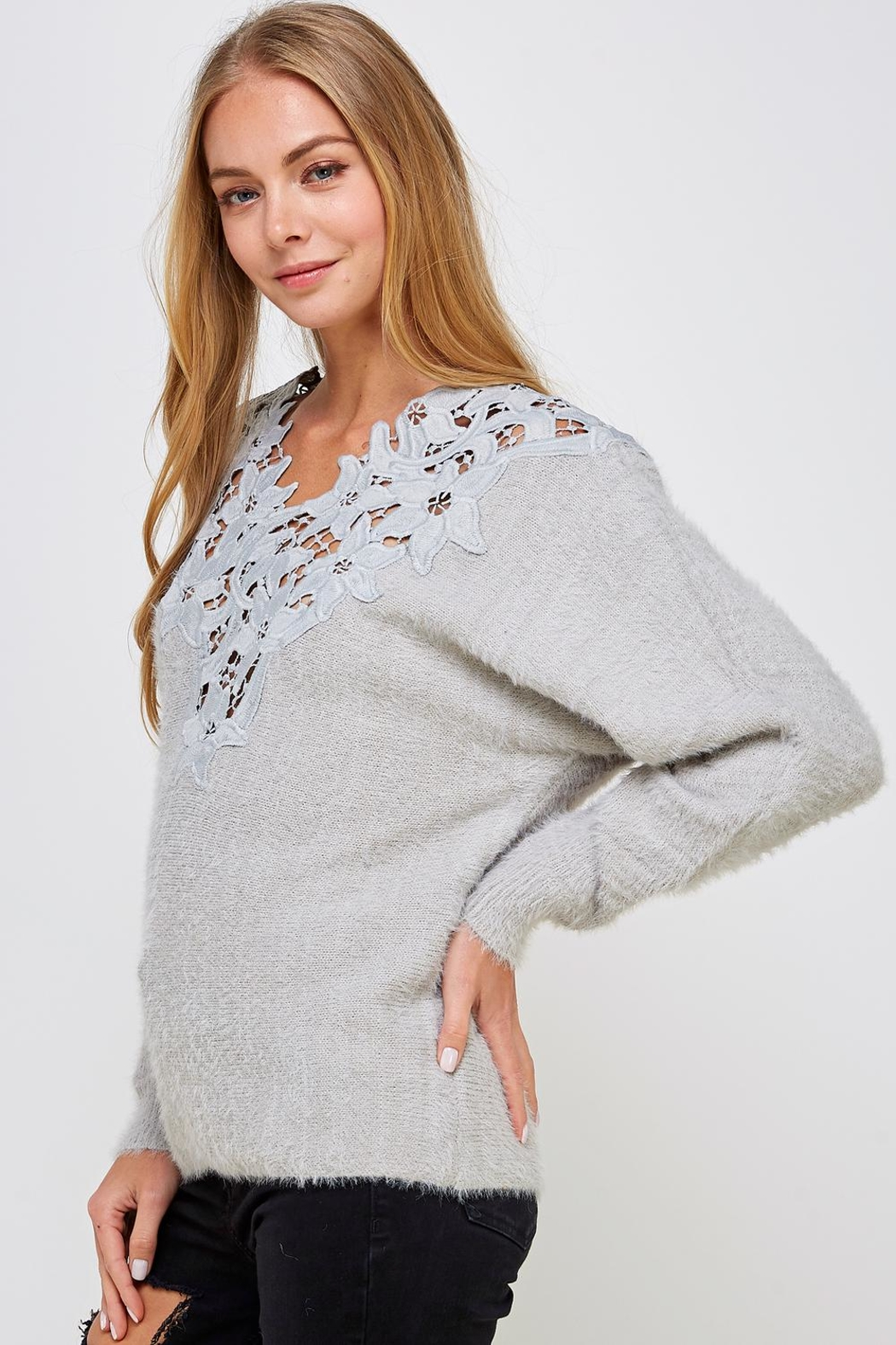En Creme Soft Lace-Neck Sweater - Side Cropped Image