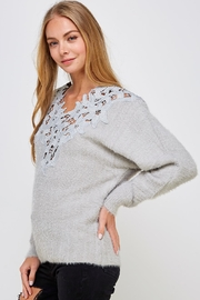 En Creme Soft Lace-Neck Sweater - Side cropped