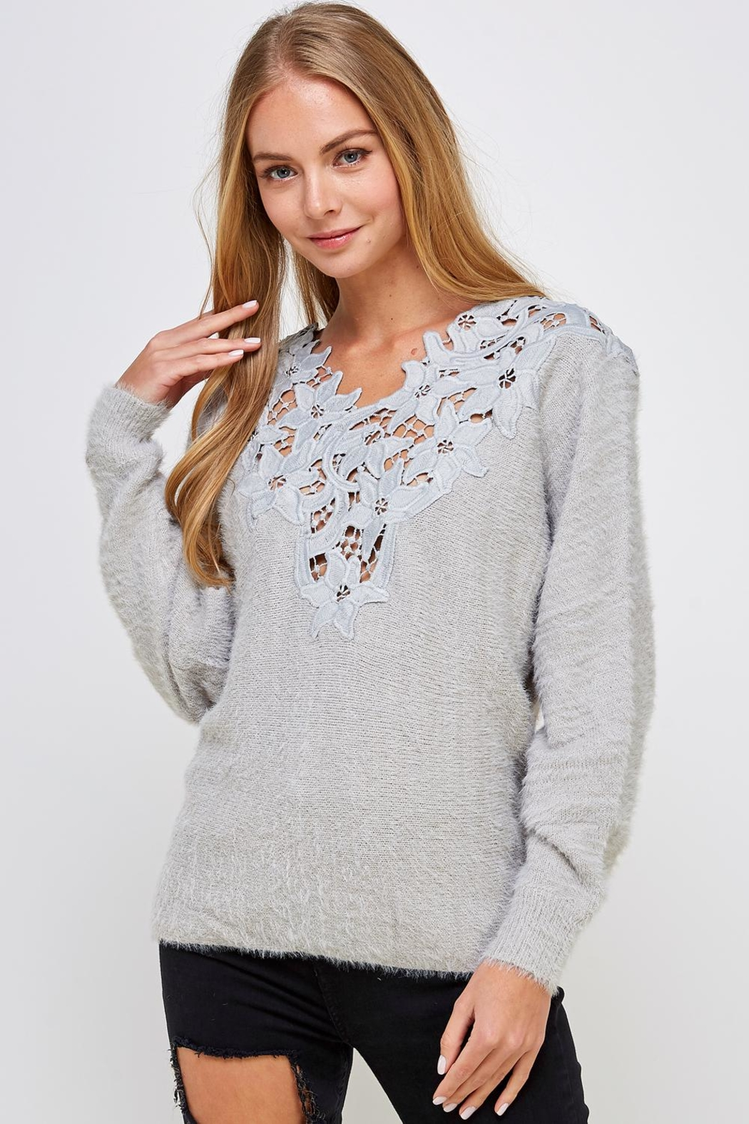 En Creme Soft Lace-Neck Sweater - Front Full Image