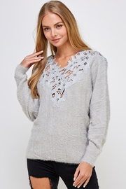 En Creme Soft Lace-Neck Sweater - Front full body