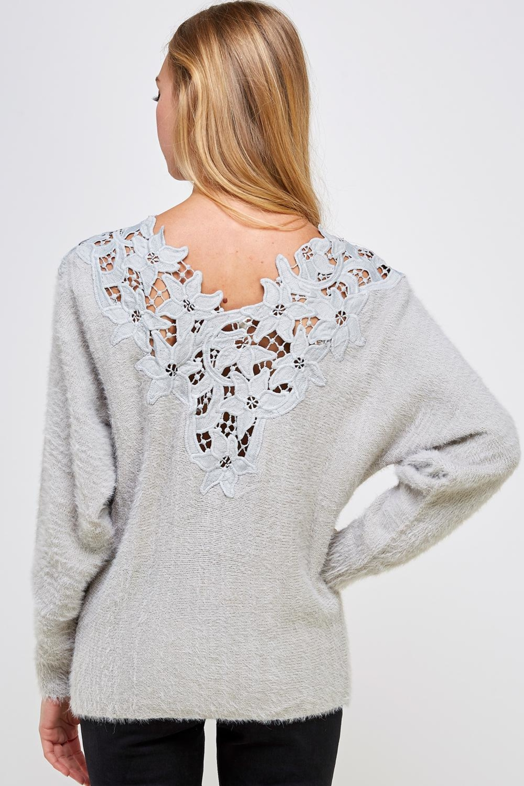 En Creme Soft Lace-Neck Sweater - Back Cropped Image