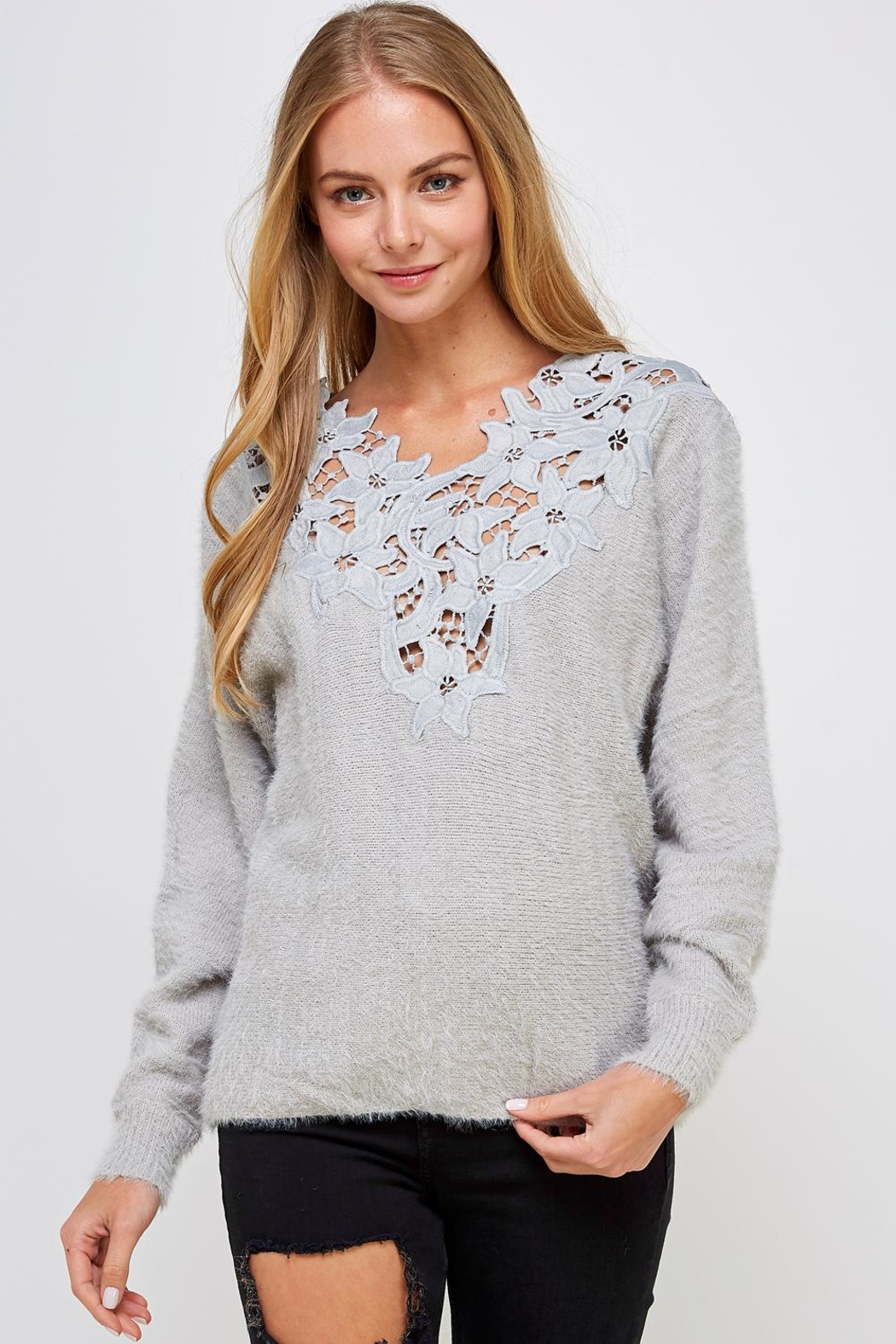 En Creme Soft Lace-Neck Sweater - Main Image