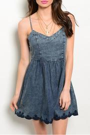 En Creme Strap Denim Dress - Front cropped