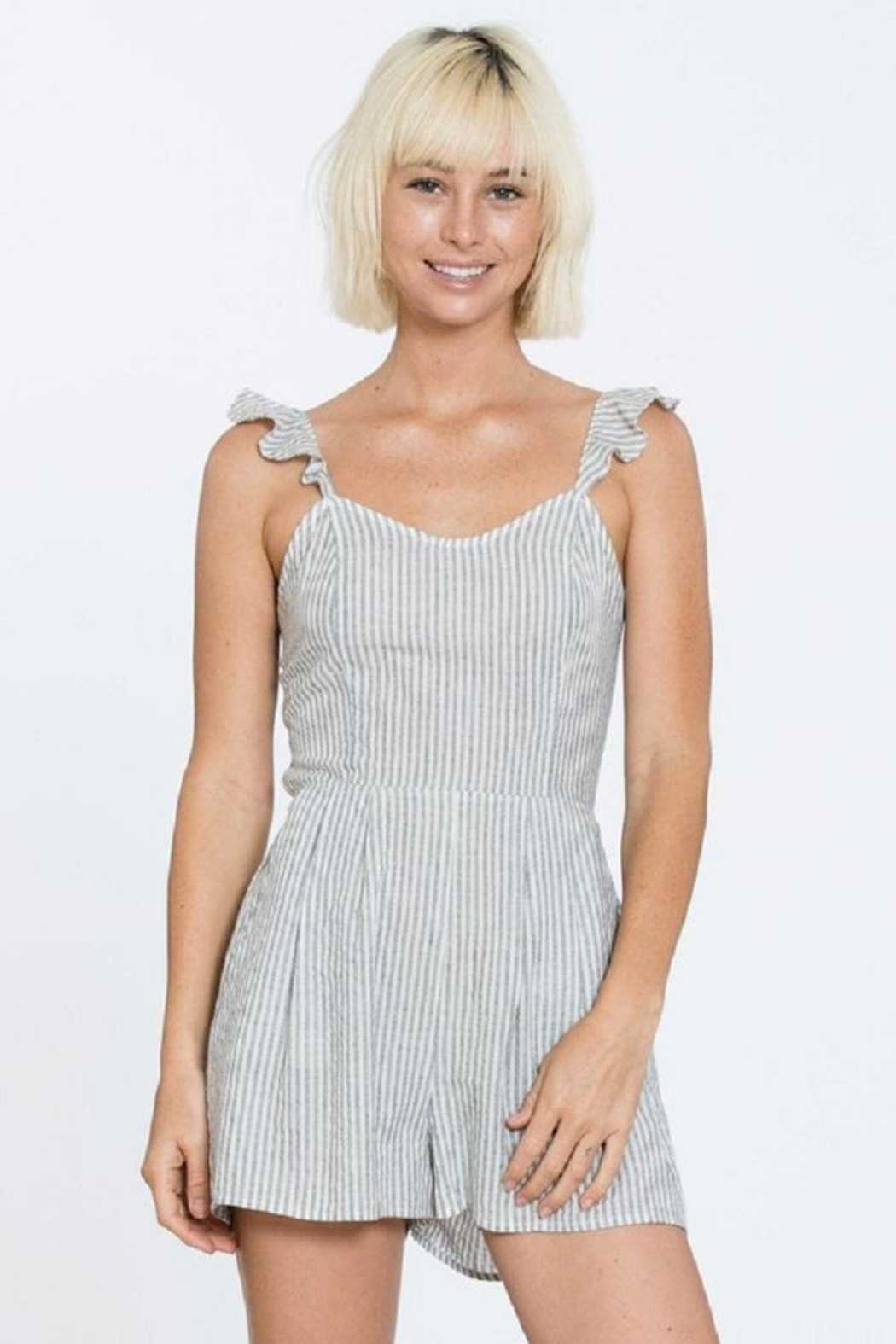 En Creme Stripe Sleeveless Romper - Main Image