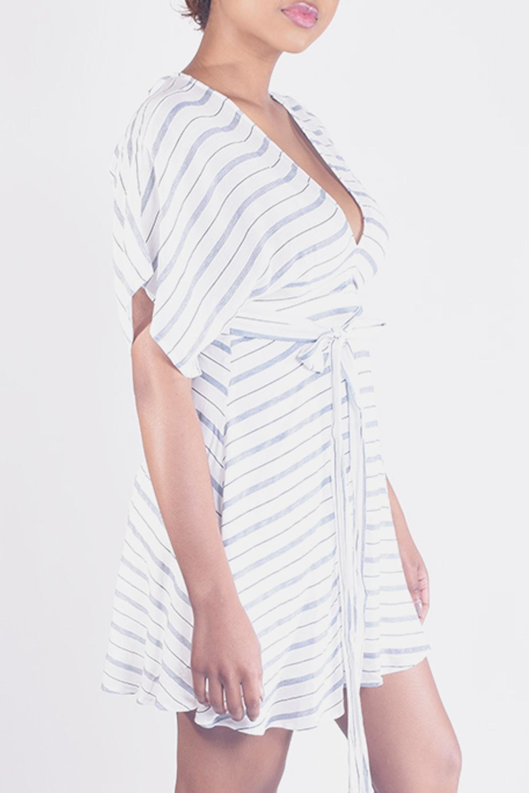 En Creme Striped Kimono Mini-Dress - Front Full Image