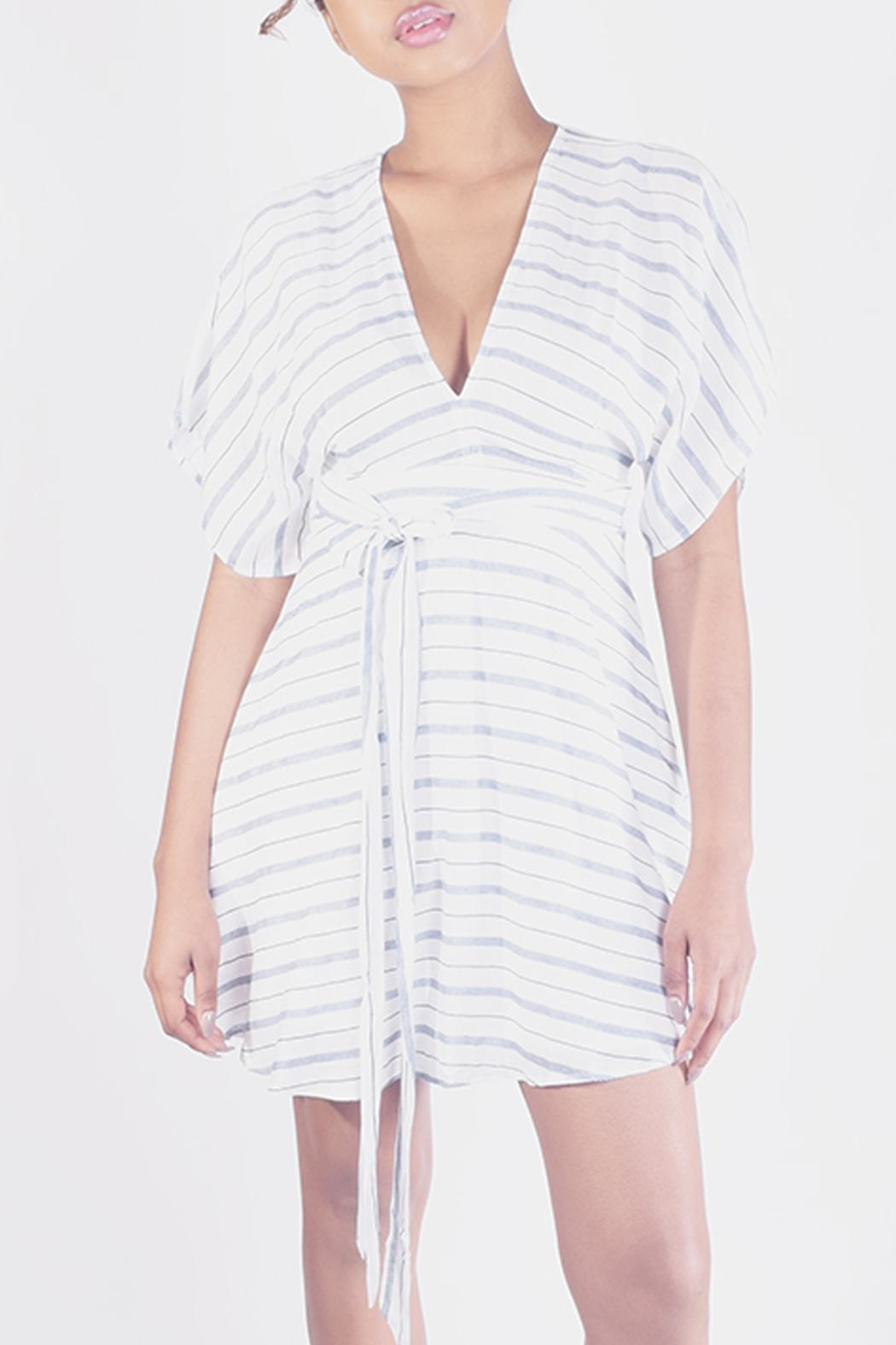 En Creme Striped Kimono Mini-Dress - Front Cropped Image
