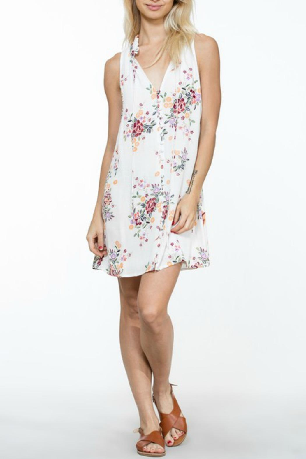 En Creme White Floral Shift-Dress - Front Full Image
