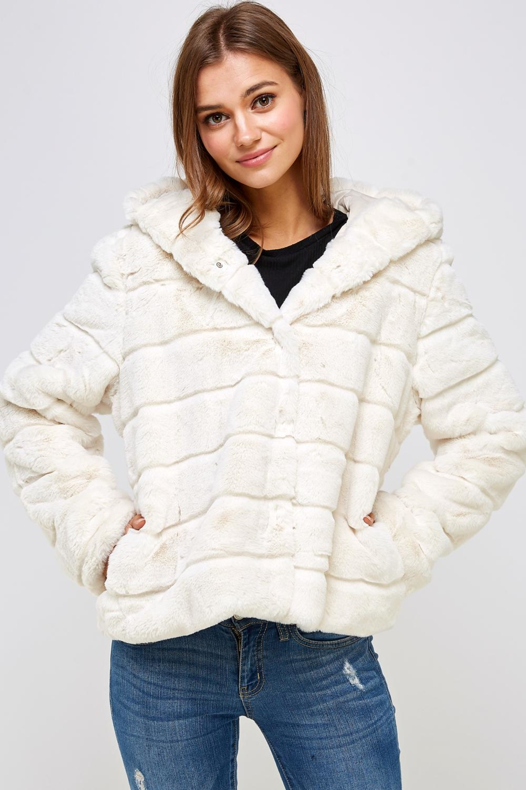 En Creme Winter White Jacket - Main Image